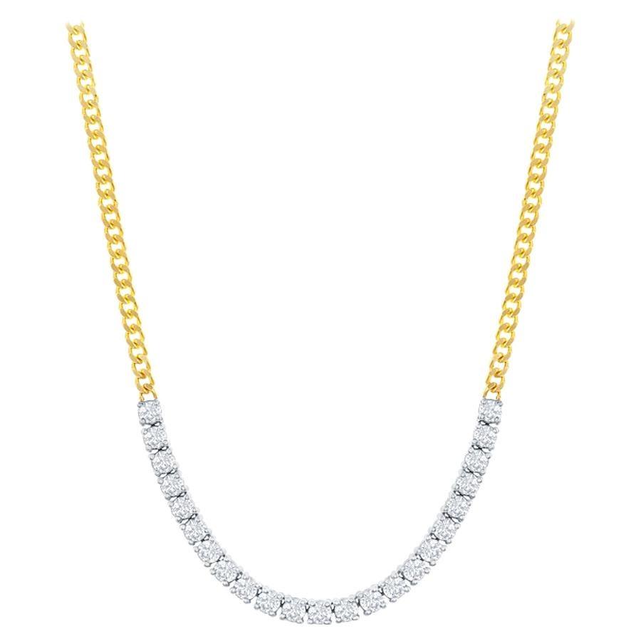 Two-Tone Diamond Flexible Bar Pendant 14 Karat