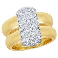 Two Tone Diamond Pave' Ring 14 Karat