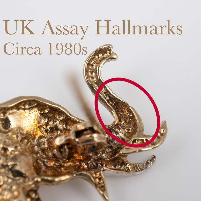 Two-Tone Diamond Ruby Elephant Brooch UK Hallmarks, circa 1980s For Sale 2