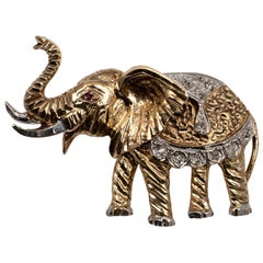 Two-Tone Diamond Ruby Elephant Brooch UK Hallmarks, circa 1980s