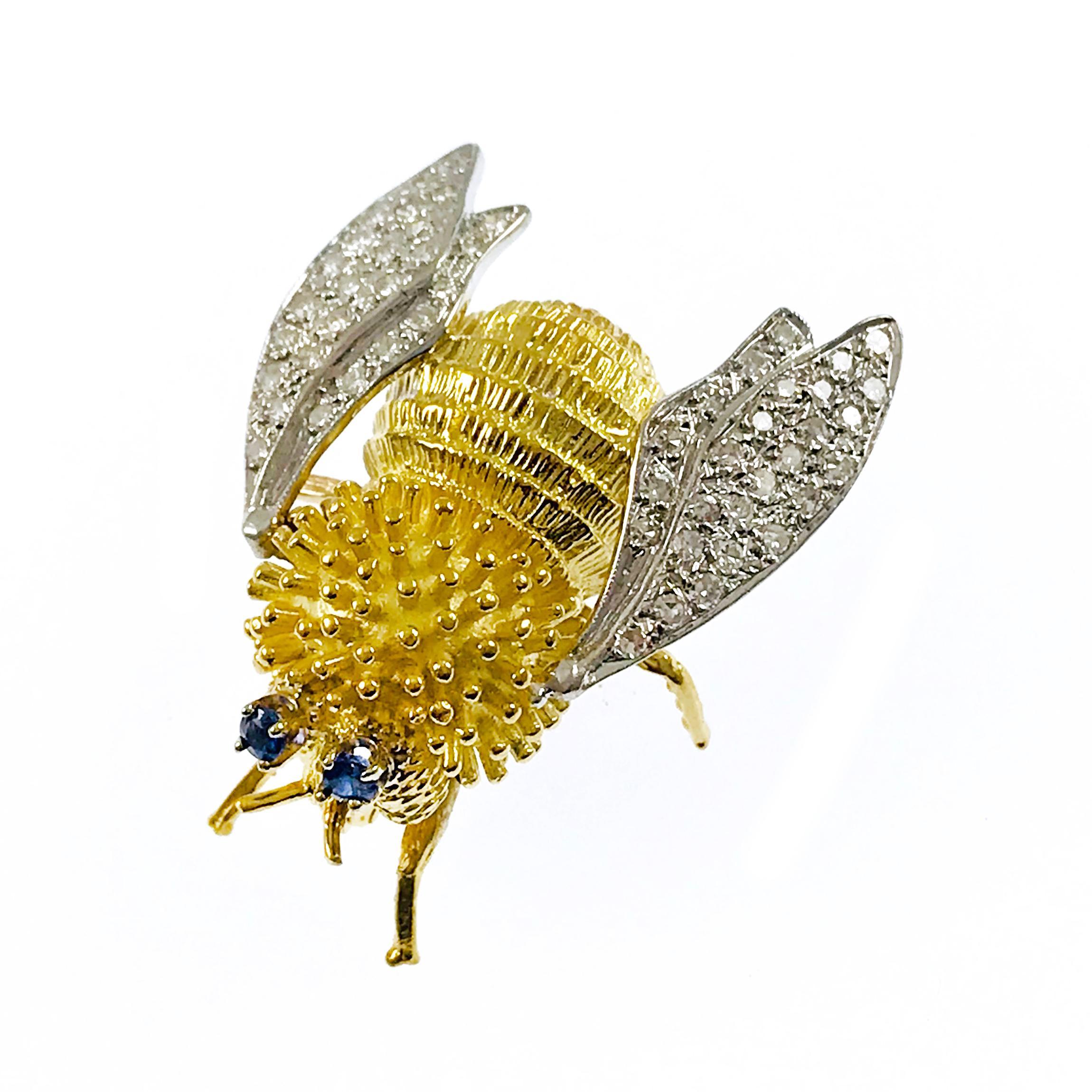 Two-Tone Diamond Sapphire Bee Fly Brooch