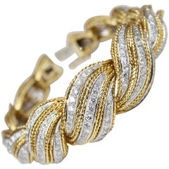Two-Tone Diamond Scrolled Bracelet