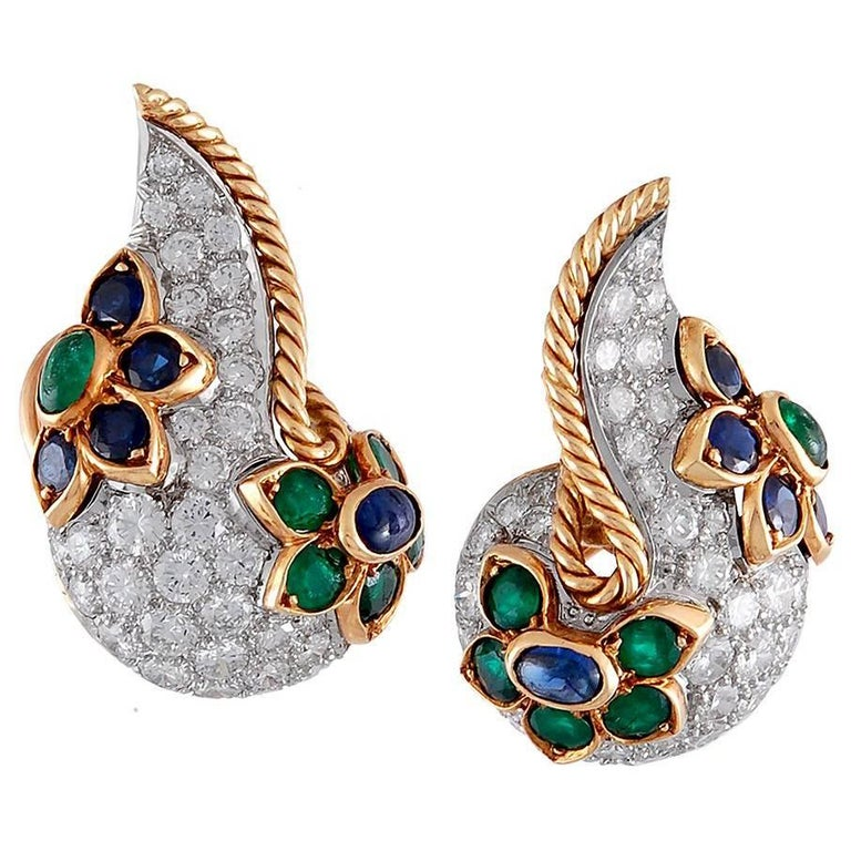 Two-Tone Diamond, Sapphire, Emerald Earrings