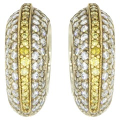 Two-Tone Gold 1.08 Carat Yellow and White Diamond Hoop Earrings by Rock N Gold