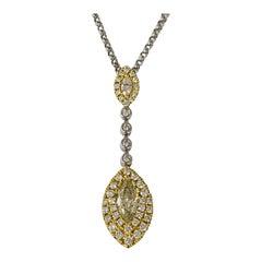 Two-Tone Gold 1.25 Carat Fancy Yellow Carat Diamond Drop Necklace
