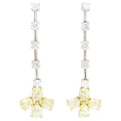 14K White Gold Natural Round Yellow Diamond and White Diamond Drop Earrings