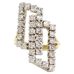 Two-Tone Gold and Diamond Interlocking Square Modern Ring