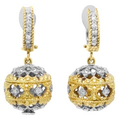 Two-Tone Gold Ball Drop All Around Earrings with Diamonds Stambolian