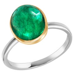 Two Tone Gold Cabochon Emerald Solitaire Cocktail Ring