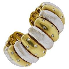 Two-Tone Gold Diamond Cuff Bracelet