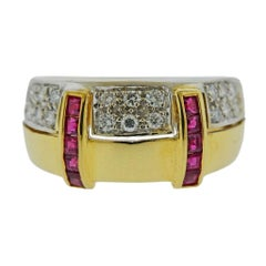 Two-Tone Gold Diamond Ruby Ring