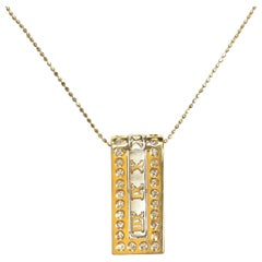 Two-Tone Gold Diamond Slide Pendant Necklace