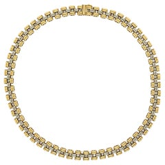 Two Tone Gold Link Chain Necklace Fopé Italy Fine Estate Jewelry