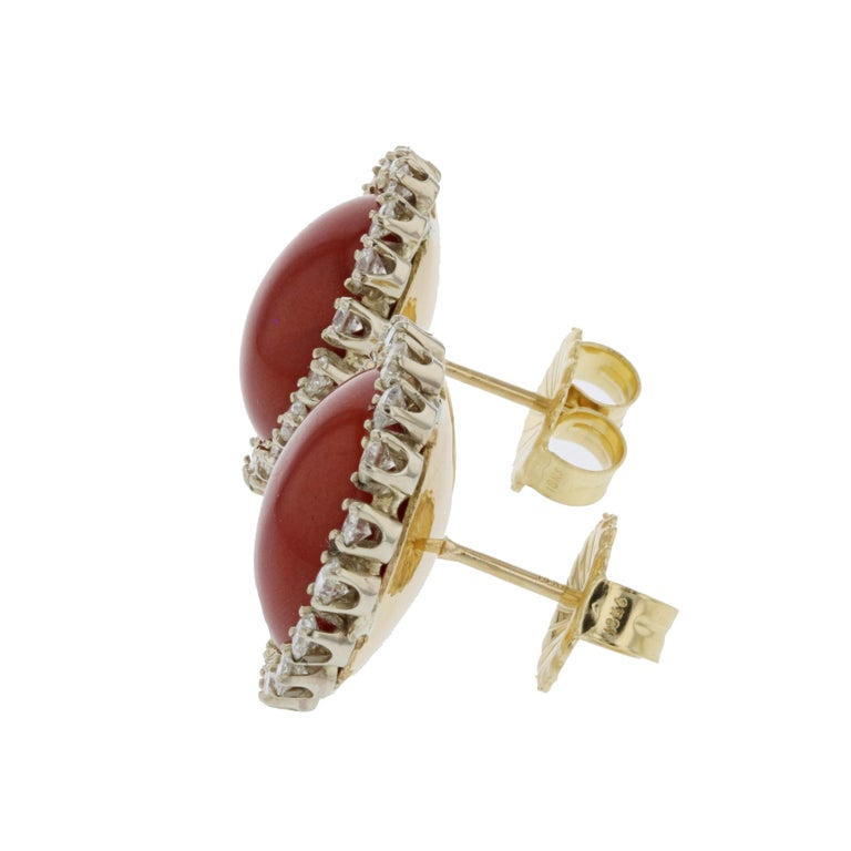 Two-Tone Gold Oxblood Coral Diamond Earrings In Good Condition For Sale In Houston, TX