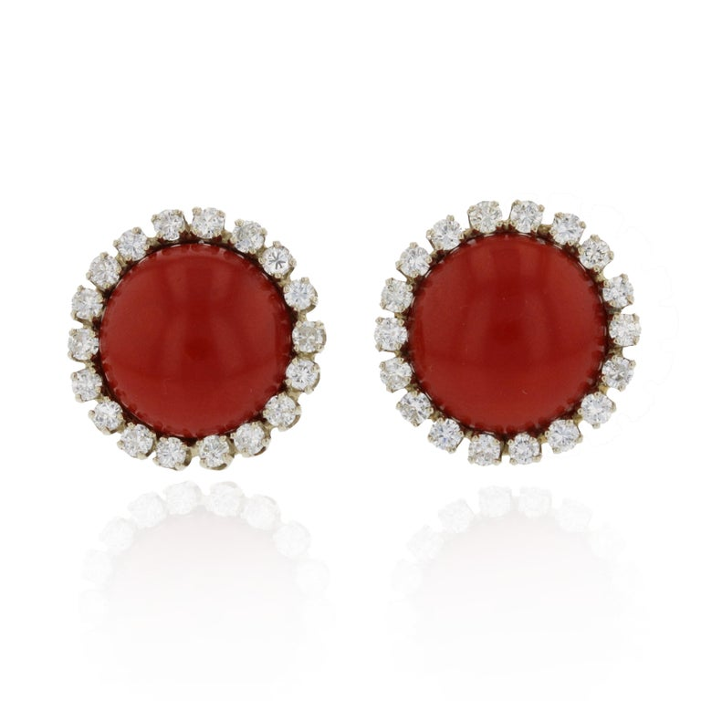 Women's or Men's Two-Tone Gold Oxblood Coral Diamond Earrings For Sale