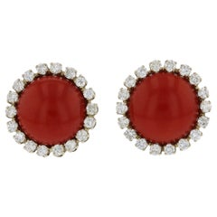 Two-Tone Gold Oxblood Coral Diamond Earrings