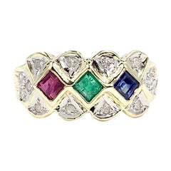 Two-Tone Gold Ruby, Sapphire and Emerald Ring