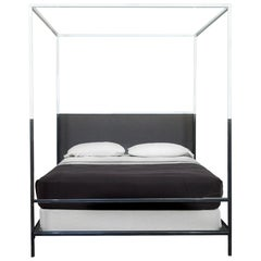Two-Tone Iron Canopy Bed, Queen