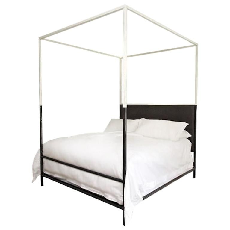 Two Tone Iron Canopy Bed with Linen Headboard, King For Sale