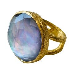 Two Tone Large Cocktail Ring with Double band