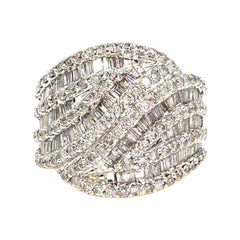 Two-Tone Large Leaf Style Baguette and Round Diamond Ring