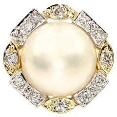 Two-Tone Large Mabe Pearl and Diamond Ring