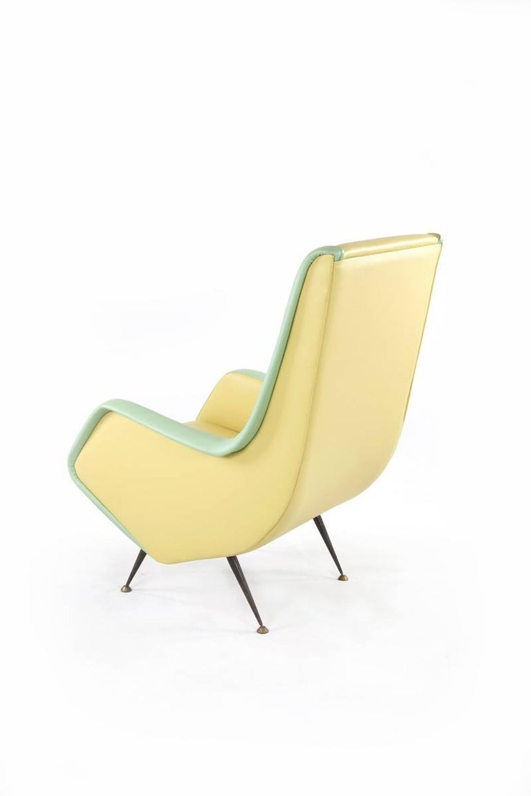 Mid-Century Modern Two-Tone Leather Cover Chairs, Design by Aldo Morbelli for I.S.A. Bergamo, 1950s For Sale