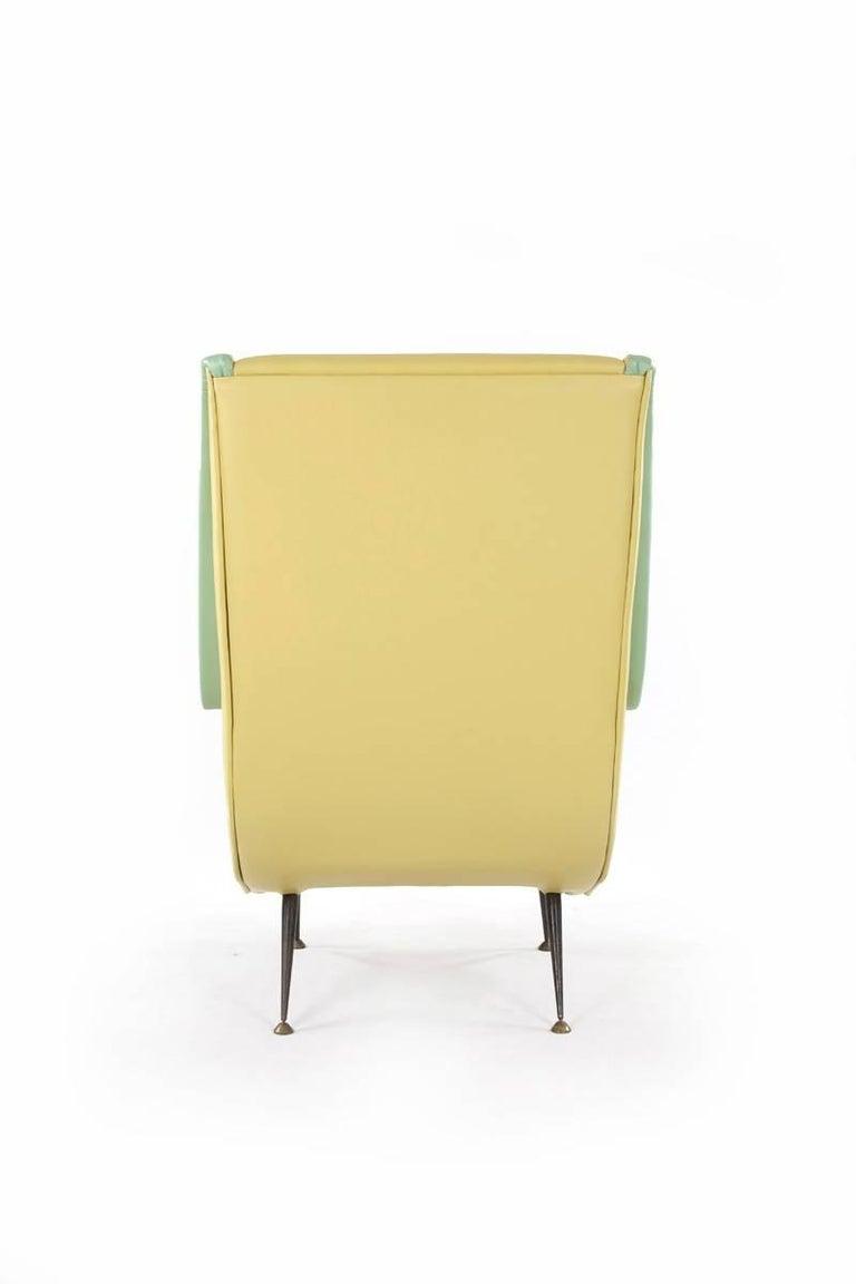 Italian Two-Tone Leather Cover Chairs, Design by Aldo Morbelli for I.S.A. Bergamo, 1950s For Sale