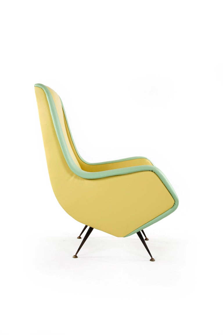 Mid-20th Century Two-Tone Leather Cover Chairs, Design by Aldo Morbelli for I.S.A. Bergamo, 1950s For Sale
