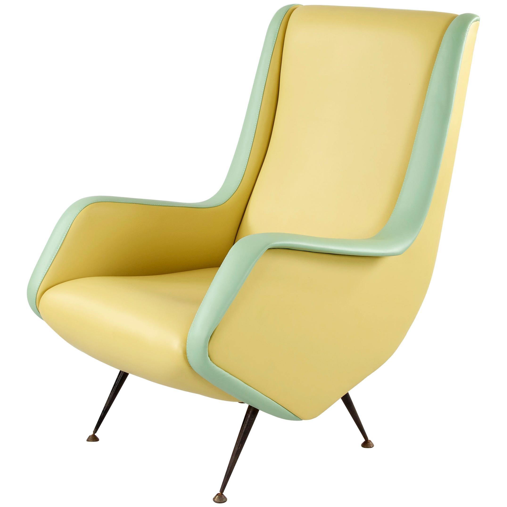 Two-Tone Leather Cover Chairs, Design by Aldo Morbelli for I.S.A. Bergamo, 1950s