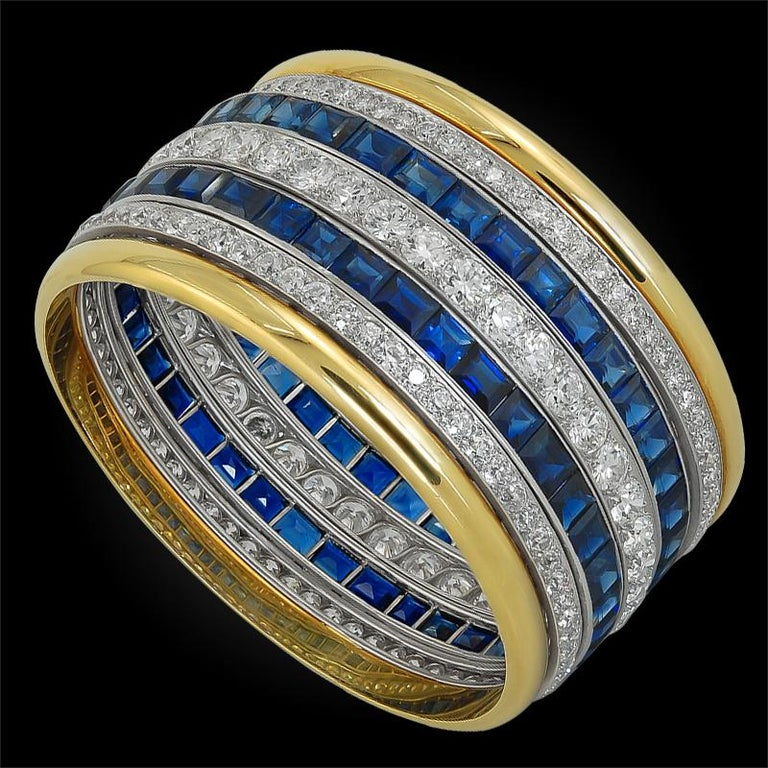 Two-Tone Old Mine Diamond, Sapphire Wide Bangle