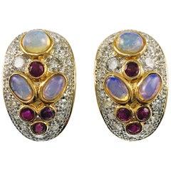 Two-Tone Opal Ruby Diamond Clip-On Earrings
