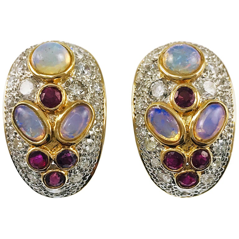 Two Tone Opal Ruby Diamond Clip On Earrings For Sale At