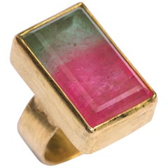 Two-Tone Pink and Mint Watermelon Tourmaline 18 Karat Gold Cocktail Ring