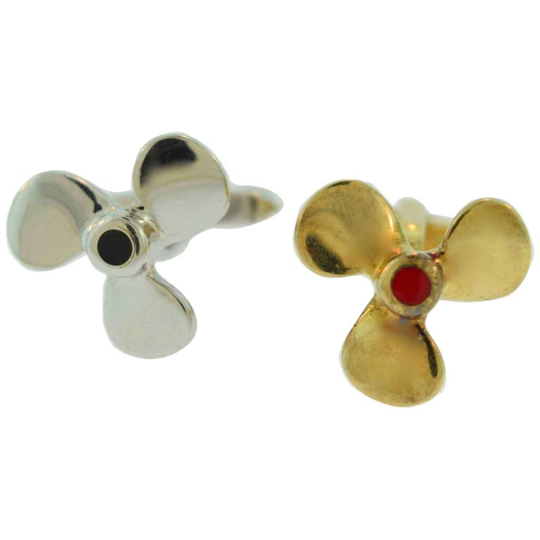 Two-Tone Propeller Yellow and White Gold 18 Karat, Blue and Red Enamel Cufflinks For Sale