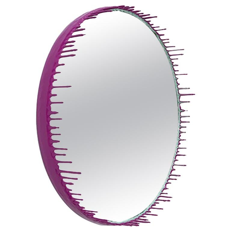 Two-Tone Resin Drip Mirror in Celadon and Fuchsia by Elyse Graham For Sale