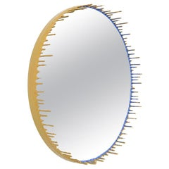Two-Tone Resin Drip Mirror in Mustard and Thistle by Elyse Graham