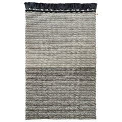 Two-Tone Rug in Blacks Thick Luxurious Handmade Crochet Cotton and Polyester