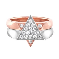"Two-Tone ""Star of David"" Diamond and Gold Interchangeable Ring"