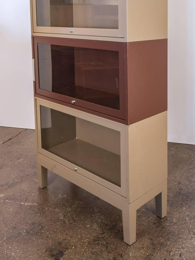 Two Tone Tall Metal Barrister Bookcases For Sale At 1stdibs