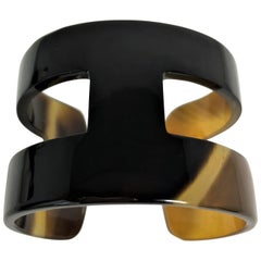 """Two-Tone Tortoise Shell Colors """"H"""" Style Horn Cuff or Bangle"""