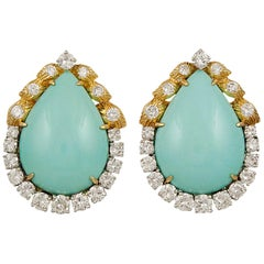 Two Tone Turquoise Diamond Earrings