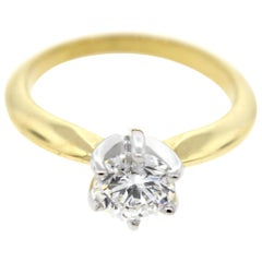 Two Tone Yellow Gold & White Gold Diamond Solitaire Engagement Ring (1Ct Certed)