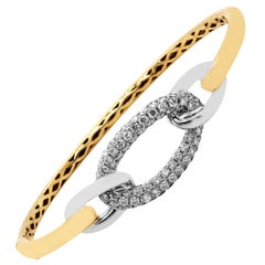 Two-Tone Yellow White Gold and Diamond Bangle Bracelet