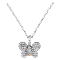 Two-Tone Yellow White Gold and Diamond Butterfly Pendant Necklace Stambolian