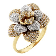 Two-Tone Yellow White Gold and Diamond Flower Ring