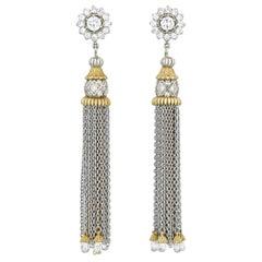 Two-Toned 18 Karat Gold and Diamond Briolette Tassel Earrings