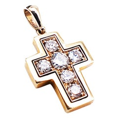 Two-Toned .50 Carat Diamond Cross Pendant Contemporary VS Clarity Diamonds