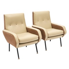 Two-Toned Leather French Modernist Armchairs