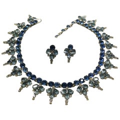 Two toned saphhire paste necklace and matching earrings, Roger Scemama, 1950s